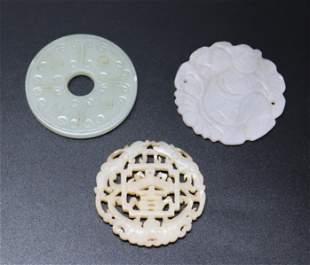 3 - Chinese Jade or Hardstone Round Pendants