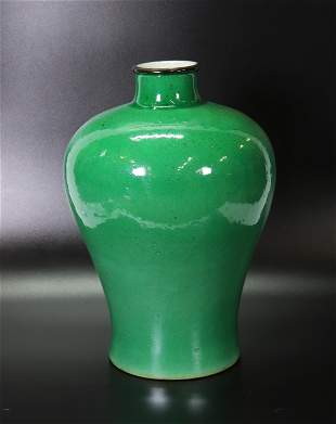 Chinese 19 C Camellia Crackle Porcelain Meiping