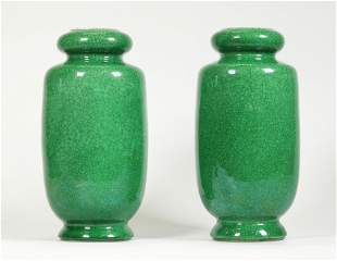 Pair Chinese Green & Crackle Porcelain Vases
