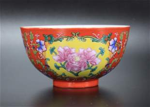 Chinese Coral Ground Porcelain Bowl