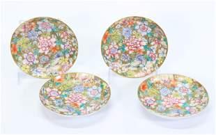 4 - Chinese Qing Mille Fleur Porcelain Tea Saucers