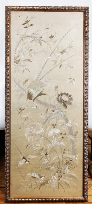 Large Chinese Silk Embroidery Panel