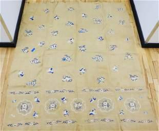 Chinese Blue & White Silk Embroidered Ecru Linen