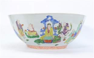 Chinese 19 C Famille Rose 18 Lohan Porcelain Bowl