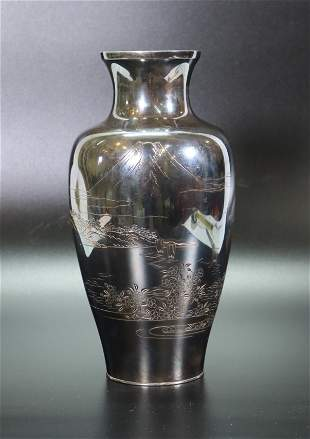 Japanese Silver Mt Fuji Incised Vase; 760G