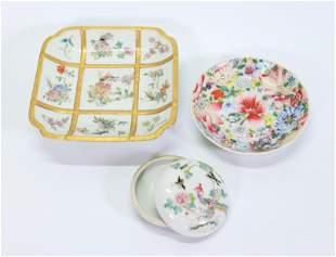 Chinese Sq Porcelain Plate; Round Box & Dish