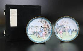 Pair Chinese 18th C Canton Enamel Sm Figure Plates