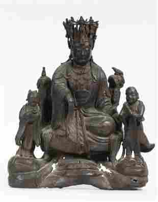 Fine Large Chinese Ming Bronze Seated Guanyin