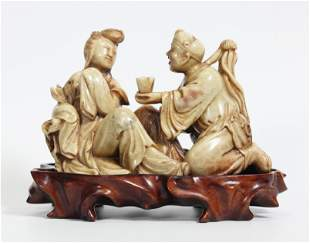 Chinese Carved Shoushan Soapstone Man and Woman