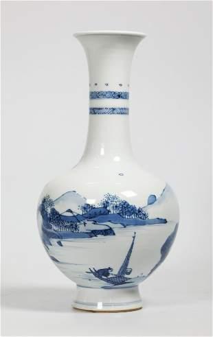 Chinese Qing Blue & White Porcelain Landscape Vase