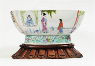 Chinese Famille Rose Porcelain Figural Square Bowl