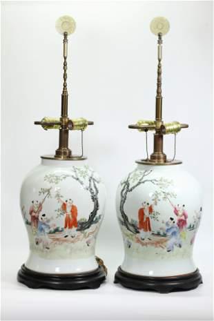 Mirror Pair Chinese Enameled Porcelain Jars