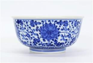 Chinese Blue White Porcelain Scrolling Lotus Bowl