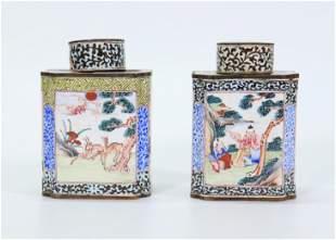 Pair Chinese 18 C Canton Enamel Tea Caddies