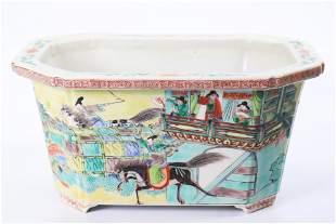 Chinese Enamel Porcelain Lady Horse Race Planter