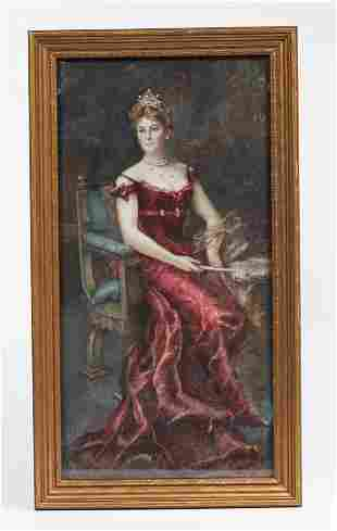 Seated Portrait of Lady in Ball Gown, Signed