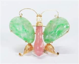 Chinese Tourmaline Jadeite 14K Gold Butterfly Pin