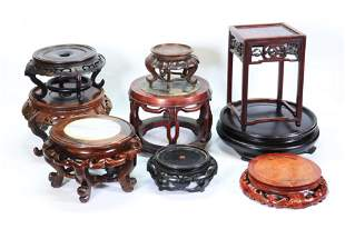 9 Chinese Hard Wood Stands or Miniature Tables