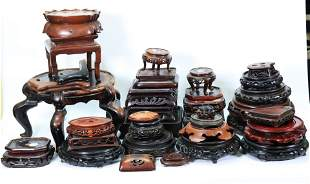 35 Chinese Hard Wood Stands, Rounds and Shaped
