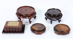 Chinese Hard Stone Inlaid Wood Box & Tray 4 Stands