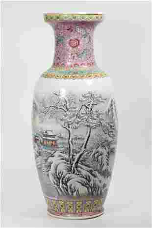Chinese Jingdezhen Winter Fencai Porcelain Lg Vase