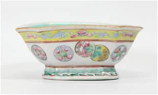 Chinese 19 C Octagonal Famille Rose Porcelain Bowl