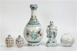 5 -Chinese Porcelains: Doucai Blue White Enameled