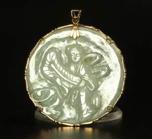 Chinese Pale Green Jadeite Pendant 14K Frame