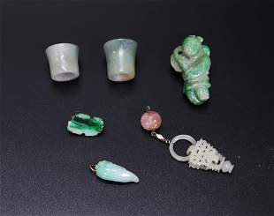 6 - Chinese Jadeite or Jade Pieces