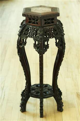 Chinese Qing Hexagonal 6 Leg Carved High Table