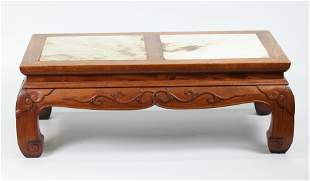 Chinese Huanghuali or Hard Wood Marble Foot Stool