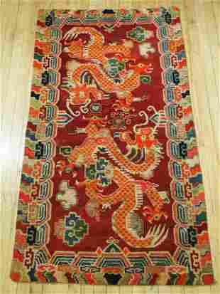 Tibetan Antique Wool Horizontal Dragons Carpet
