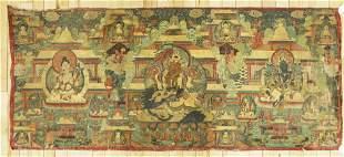 Large Tibetan Thangka on Leather 3 Bodhisattvas