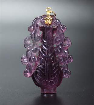 Chinese Amethyst Crystal Carved as Vase & Vines