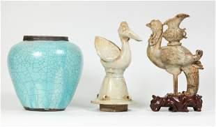 Chinese Jade Phoenix, Qingbai Porcelain Cover, Jar