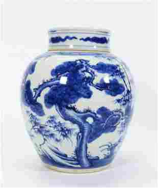 Chinese Blue White Porcelain Ginger Jar & Cover