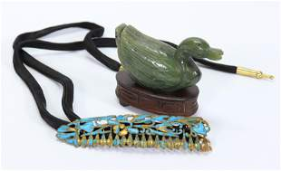 Chinese Green Jade Duck; Feather Inlaid Hair Pin