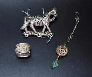 3 - Chinese Silver Scholar's Horse, Ring, Pendant
