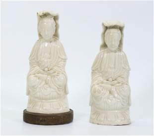 Pair Chinese Blanc de Chine Porcelain Guanyin