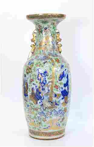 Chinese 19C 8 Immortals Enameled Porcelain Lg Vase