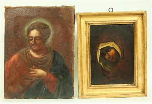 2 Italian 18 C Portraits of Saints 1 Antique Frame