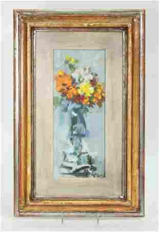 Italian Mid Century Modern Floral Oil on Board