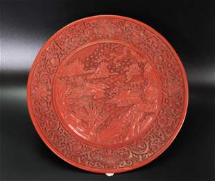 Chinese Red Cinnabar Lacquer Landscape Plate