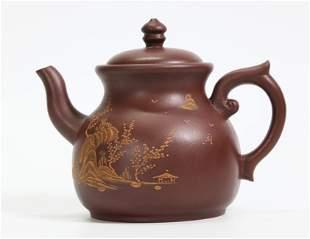 Chinese Yixing Pear-Shape Teapot Light Slip Design
