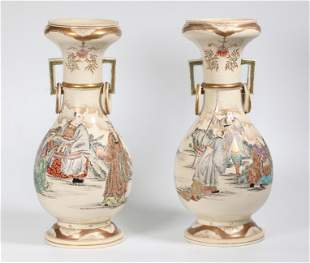 2 - Japanese Samurai Satsuma Vases Ring Handles