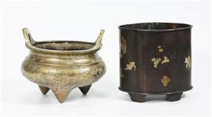 2 - Chinese Bronzes; Incense Burner, Brush Pot
