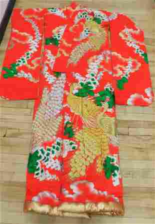 Japanese Gold & Silver Embroidered Peacock Robe