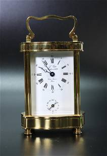 L'Epie; French Bronze & Glass Case Carriage Clock