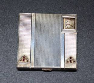 Art Deco Sterling, 14K Gold Compact with Watch