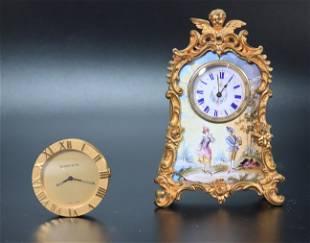 """Tiffany """"Atlas Dial"""" Watch; Vienna Enamel sm Clock"""